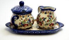 Cream and Sugar Set (Poppy Persuasion) from The Polish Pottery Outlet