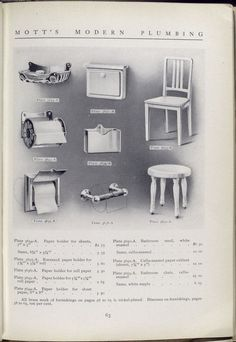 Mott's Iron Works Bath catalog 1911. Plate 3634 to Plate 3653 - A. Paper holder, bathroom stool, paper cabinet and bathroom chair.