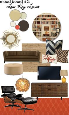 low key luxe - mid century style furniture and mirror, brown and orange