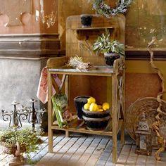 Planting table Woodbridge - All About Petites Tables, My Secret Garden, Wood Bridge, Kitchen Cart, Plank, Indoor Outdoor, Furniture, Home Decor, Gardening