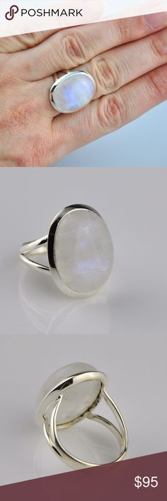 Natural Rainbow Moonstone Sterling Silver Ring The moonstone is actually a variety of Labradorite which is lighter in color and exhibits an adularescence, or optical effect of light that floats about the stone, like a movable cloud making it my most favorite stone. Stone measures 23mm x 18mm. Genuine .925 Sterling silver will tarnish without proper storage and care. NOTE: 100% natural stone so inclusions, cracking, veining etc may be present, NOT  a defect. Smoke free pet friendly home…