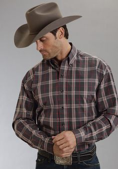 4e742a56 Stetson Mens Flacon Plaid Flat Weave Y/d W/satin Iii Long Sleeve Shirt