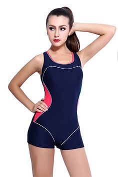 a2de4353484e2 Amazon.com  Women s Slimming One Piece Boxer Boyleg Swimsuit Racerback  Halterneck Athletic Swimwear Tankini