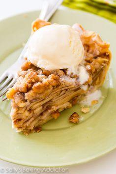 Apple Crumble Pie-- heavy on the crumble topping! Recipe on sallysbakingaddiction.com