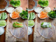 How to make fresh spring rolls or fresh summer rolls with rice paper. Easy recipe for Vietnamese spring rolls, rice paper rolls recipe, summer rolls recipe Vegetarian Recipes, Cooking Recipes, Healthy Recipes, Vietnamese Summer Rolls, Vietnamese Rice Paper Rolls, Thai Spring Rolls, Veggie Spring Rolls, Authentic Vietnamese Spring Rolls Recipe, Vietnamese Salad Rolls
