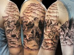 battle and clouds and holy rays custom tattoo (Miguel Angel tattoo . Black Cloud Tattoo, Archangel Michael Tattoo, London Illustration, Boy Tattoos, Realism Tattoo, Miguel Angel, Custom Tattoo, Tattoo Shop, Tattoo Designs