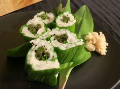 Wild foraged food recipes. Japanese knotweed and ramp sushi with garlic mustard wasabi