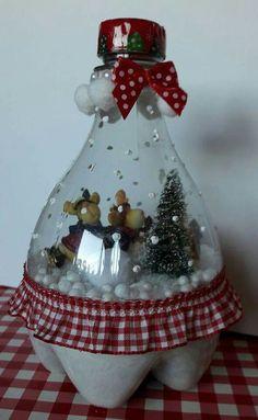 Diy Cleaners 847380486124901855 - Plastic Bottle Snow Globe Plastic Bottle Snow Globe basteln Source by Christmas Figurines, Felt Christmas, Christmas Ornaments, Snowman Ornaments, Christmas Snowman, Diy Snow Globe, Snow Globes, Soda Bottle Crafts, Plastic Bottle Crafts