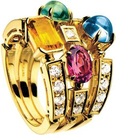 Bvlgari Bulgari Inspired Allegra Three-band Yellow Gold, Pink/Rose Tourmaline, Peridot, Citrine Quartz, Blue Topaz And Pavé Diamond Ring Pink Tourmaline Ring, Blue Topaz Ring, Citrine Ring, Quartz Ring, Bulgari Jewelry, Bling Jewelry, Jewelry Rings, Gold Band Ring, Band Rings