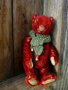 Miniature Vintage styled Victorian Red Mohair Artist Bear by Aerlinn Bears.