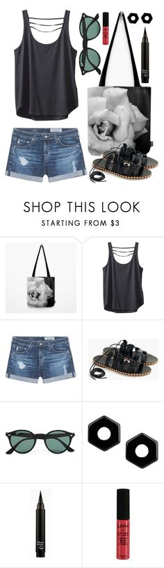 """""""OOTD - BlackTop"""" by by-jwp ❤ liked on Polyvore featuring Kavu, AG Adriano Goldschmied, J.Crew, Ray-Ban, Marc by Marc Jacobs, NYX, summerstyle, summeroutfit and s6"""