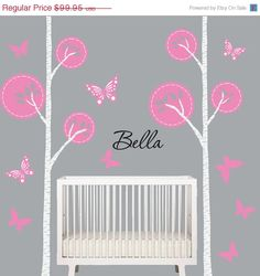 SALE Birch Tree Decal Grey Pink Nursery Tree by onehipstickerchic