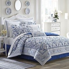 Laura Ashley Charlotte Blue and White Floral Cotton Comforter Set (King - 4 Piece) Comforters, Cotton Duvet Cover, Full Size Comforter, Comforter Sets, Reversible Bedding, Bed, Luxury Bedding, Beautiful Bedding, Bedding Sets