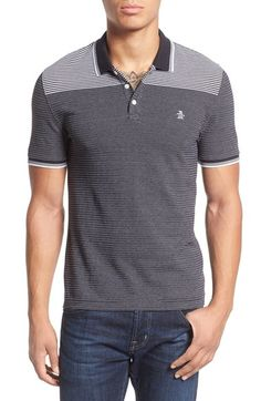 Original Penguin Jacquard Stripe Knit Polo available at #Nordstrom