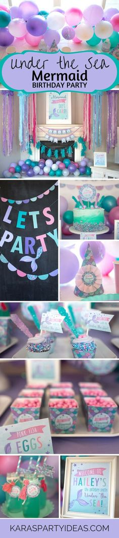 Under the Sea Mermaid Birthday Party via Kara's Party Ideas. Darling mermaid cake, mermaid banner, and other darling mermaid kids party ideas. #mermaid #mermaidparty #mermaidpartyideas #karaspartyideas #kidspartyideas