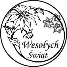 Okrągły Gumowy Stempel - Wesołych Świąt - Kwiaty - no2