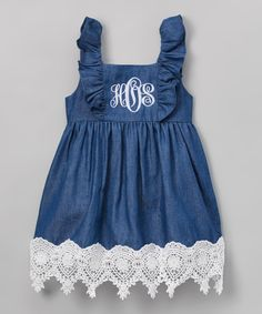 Look what I found on #zulily! Navy & White Monogram Denim Dress - Infant, Toddler & Kids by Smocked or Not #zulilyfinds
