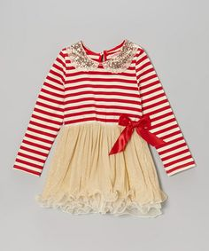 Take a look at this Red Stripe Sequin Collar Tutu Dress - Toddler & Girls by Paulinie on #zulily today!