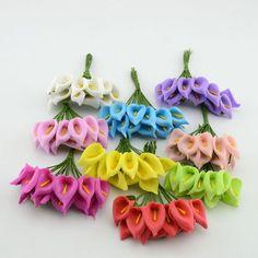 12 unids Mini Calla Espuma Handmake Ramo de Flores Artificiales Decoración de La Boda de la Guirnalda de BRICOLAJE Caja de Regalo Scrapbooking Flor Artificial