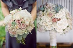 Vintage Rose Wedding Bouquets - looks like they were just randomly picked wedding flower bouquet, bridal bouquet, wedding flowers, add pic source on comment and we will update it. www.myfloweraffair.com can create this beautiful wedding flower look.