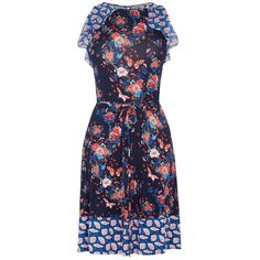 Oasis V&A Harriet Print Ruffle Dress, Navy (£32) ❤ liked on Polyvore featuring dresses, blue shift dress, sleeveless maxi dress, floral print maxi dress, midi dress and floral shift dress