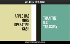 Apple has more operating cash   than the U.S. Treasury.