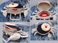 This straw purse is a crab with a hat. Or, this straw crab with a hat is a purse. Either way, she's tres jolie.