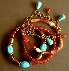 Red Turquoise Gold MultiStrand Gemstone Bracelet by Woojoo on Etsy Beaded Jewelry, Jewellery, Tribal Bracelets, Red Turquoise, Strand Bracelet, Brass Chain, Bracelet Designs, Jewelry Crafts, Beading