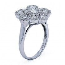 18K White Gold Lady`s` ring with 85 Round diamonds/1.58R