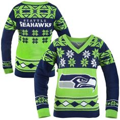 Seattle Seahawks Women's Big Logo V-Neck Ugly Sweater - College Navy/Neon Green. I had to buy it!