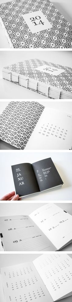 Design Calendar | Annkathrin Dahlhaus Good example of type as graphic. Clear and easy to use structure, but with enough typographic variation to keep layouts different. Minimal color scheme highlights type as graphic elements, creating patterns similar in some ways to the cover.