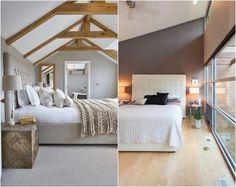chambre grise avec parquet flottant et tête de lit en blanc