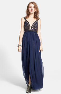 Free People Embellished Chiffon Maxi Dress | Nordstrom