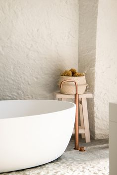COCOON rustic beige bathroom design | Piet Boon by COCOON bathroom collections RAW copper taps | solid white bathtub | interior design | light bathroom bycocoon.com | natural elements | villa bathroom design | Provence France | Dutch Designer Brand COCOON