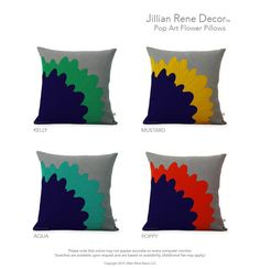 Red Pop Art Flower PILLOW COVER in Grey Natural Linen by JillianReneDecor | Designer Home Decor | Poppy and Navy | Mid Century Inspired