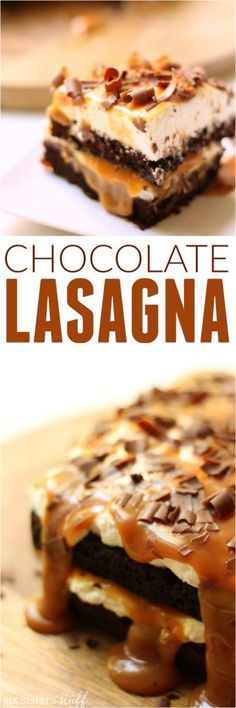 This chocolate lasagna is so easy to make, but it tastes AMAZING! Find the recipe on SixSistersStuff.com
