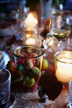 Alternate Weck jars with fresh fruit and candles for an easy elegant table centerpiece.