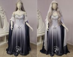 Silver Shadow Elven Gown (sleeve view) by Firefly-Path on DeviantArt Dress Outfits, Dress Up, Mode Costume, Bridal Gowns, Wedding Dresses, Elven Wedding Dress, Fantasy Gowns, Medieval Dress, Gowns With Sleeves