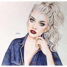 girl, drawing and hiliuu image on We Heart It Girly M, Blue Drawings, Art Drawings, Sarra Art, Digital Art Girl, Color Pencil Art, Illustration Girl, Beautiful Drawings, Female Art