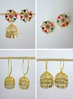 PBJ-11-S [Wearability options] Clock wise from top left: (1) can be worn as jhumkas (2) can be worn just as tops/ earrings after removing the jhumka bottom (3) jhumka bottom can be added to hoops- worn on our small hoops in this picture (4) jhumka bottom worn on our big hoops.   For details write to info@lai-designs.com