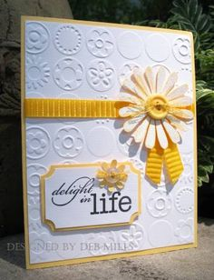 Sweet Yellow Daisey Delight Card...Deb Mills - Cards and Paper Crafts by Splitcoaststampers.