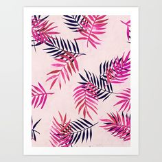 A pretty pattern of pink painted palm leaves. : ) <br/> <br/> pink, painted, palm, leaves...