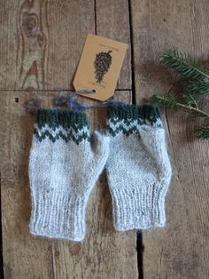 Icelandic Fingerless Mittens / Gloves Hand Knit Ash, Pine / Lopi READY TO SHIP