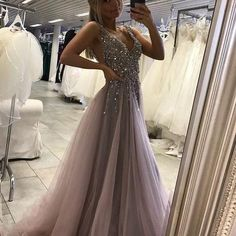 Sparkly Prom Dresses, Gray prom dresses,Deep V-neck prom dress,Side Slit prom gowns,Tulle Long Prom Dress With Crystals Breeze Bridal Split Prom Dresses, Grey Prom Dress, Sparkly Prom Dresses, Simple Prom Dress, Prom Dresses For Teens, Backless Prom Dresses, Tulle Prom Dress, Cheap Dresses, Sexy Dresses