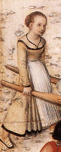 Peasant/working class German. 1500s. Lots of pictures in this article. - it looks like the top of her apron has some smocking on it.  hard to tell at this size