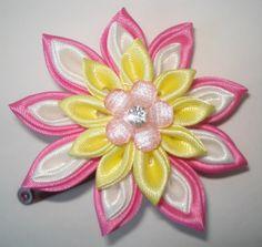 Pink White and Yellow ribbon Kanzashi by GirlsFairytaleWorld, $15.00