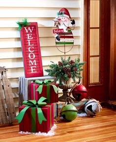 Red Green & White Christmas Porch Decor Distressed Finish Rustic Country Spread Christmas spirit with red, white and green accents … Christmas Porch, Noel Christmas, Outdoor Christmas Decorations, Homemade Christmas, Christmas Lights, Christmas Wreaths, Christmas Crafts, Christmas Ornaments, White Christmas