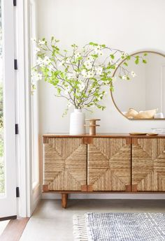 All the hearts in our eyes for this super luxe take on a classic sideboard. It's perfect mix of mid-century detail with tapered legs and bohemian detail make this a must have for any budding interior guru. Decor, Furniture, Interior, Home Decor, Wood Cabinets, Classic Sideboard, Trending Decor, Dining Room Table, Interior Design