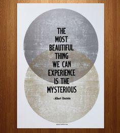 """Albert Einstein """"Mysterious"""" Letterpress Print by Western New York Book Arts Center"""