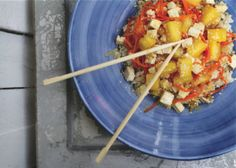 Sweet & Sour Tofu Stir-Fry with carrot, pineapple, and sesame seeds (Vegetarian, vegan, gluten-free)